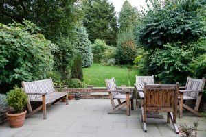 garden furniture in autumn